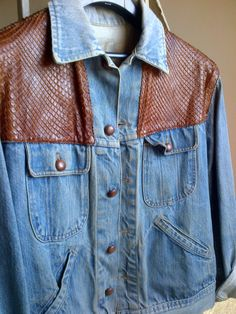 Vintage Denim Jacket With Brown Leather Panels by WhitleyBay on Etsy