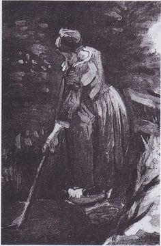 Van Gogh - Bäuerin, einen Kanal säubern, 1885