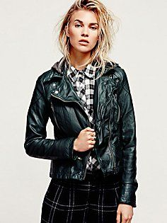 Vegan Leather Hooded Biker Jacket