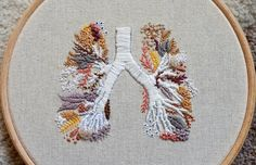 Delicate Embroideries by Emmi Khan Feature Anatomically Accurate Lungs, Brain, and Facial Vessels Embroidery Stitches Tutorial, Embroidery Flowers Pattern, Simple Embroidery, Embroidery Patterns Free, Modern Embroidery, Hand Embroidery Patterns, Machine Embroidery Designs, Embroidery Hoops, Crewel Embroidery