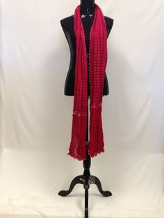 Crushed cotton Dupatta/Scarf - Red