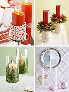 bougies rouges et blanches décorées de bâtons de sucre, branchettes de cèdre et petites couronnes