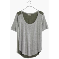 MADEWELL Anthem Scoop Elbow-Sleeve Tee in Colorblock ($25) ❤ liked on Polyvore featuring tops, t-shirts, heather stonewall, graphic tees, green t shirt, green graphic tees, green tee and scoop neck tee