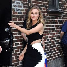 Pleasant mood: Diane Kruger stopped by The Late Show with Stephen Colbert on Thursday in New York City