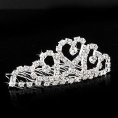 Cheap hair clip, Buy Quality princess crown hair directly from China comb hair clip Suppliers: Mini Crystal Twinkle Rhinestone Diamante Bridal Princess Crown Hair Comb Hair Clip Tuck Tiara Party Wedding Wedding Hairstyles With Crown, Crown Hairstyles, Hair Comb Clips, Hair Combs, Heart Crown, Crystal Crown, Bridal Crown, Princess Wedding, Types Of Fashion Styles
