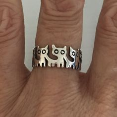 Sterling Silver Eternity Cat Ring, Kitty Ring