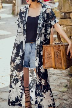 Sennos Zhou Black Turn Down Collar Printed Blouse