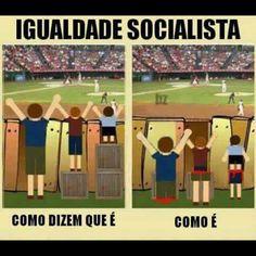 Igualdade Socialista: todos iguais, chegando a lugar nenhum.   #política #sociedade #reflexão #comportamento #socialismo
