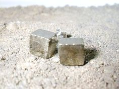 Raw Pyrite Cube Sterling Silver Stud Earrings. $26.00, via Etsy.
