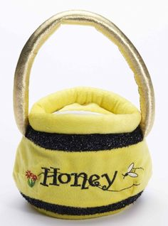 Bumble Bee Honey Pot Bag - This is a cute small plush bumble bee honey pot bag. The bag is yellow with black sparkly stripes and says honey with a picture of a bee. There is a zipper on the top that opens to a small pocket. The handle of the bag is shiny gold. This bag goes great with a cute bee or bear costume and is the perfect way to carry a few things with you and add an accessory to your costume. #yyc #bumblebee #props #costume