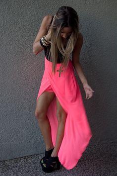 Hot Pink Neon Chiffon Haute & Rebellious Skirts |  Chictopia