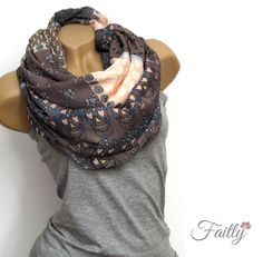 Loop Schal ♥ Totenkopf Muster grau rosa von Faitly auf DaWanda.com