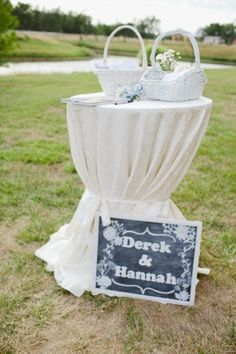 Guest book table and program baskets
