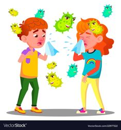 Sneezing Boy And Girl Surrounded By Flying Bacteria Vector. Isolated Cartoon Illustration royalty-free sneezing boy and girl surrounded by flying bacteria vector isolated cartoon illustration stock vector art & more images of allergy Preschool Learning Activities, Preschool Crafts, Bacteria Cartoon, Couple Avatar, Buffalo Painting, Kids Cough, Black And White Cartoon, School Images, Image Clipart