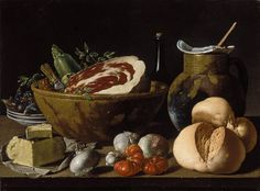 Luis Egidio Meléndez (Spanish, 1716-1780). Still Life with Bread, Ham, Cheese, and Vegetables