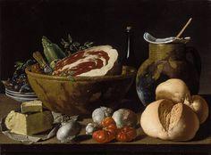 Luis Egidio Meléndez (Spanish, 1716-1780). Still Life with Bread, Ham, Cheese, and Vegetables