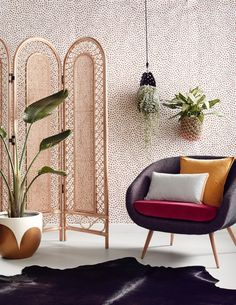 Our Natural Rattan Screen looking gorgeous against These Walls Scallop Dots Wallpaper in Rust. Wallpaper soon to be stocked in our store. Styled by Bek Sheppard Photograph: Reuben Gates