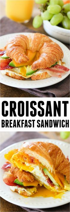 Croissant Breakfast Sandwich from SixSistersStuff.com | The perfect Mother's Day Brunch or Breakfast Recipe | Mother's Day Ideas