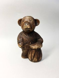 French Vintage Wooden Bear