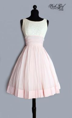 1950's Pink & Cream   http://www.poshgirlvintage.com/1950s-pink-cream-lace-tea-length-cotton-dress-m-p-2775.html