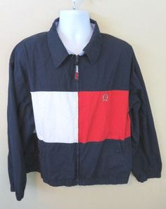 Tommy Hilfiger Golf full zip shirt jacket color block Mens XL X-Large  #TommyHilfiger #ZipFront