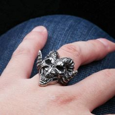 Church Of Satan Sigil Of Head Baphomet Goat Satanic Stainless Steel S.7-13 Ring