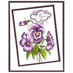 A beautiful pansy spray image for spring or summer. Ideal for Mother's Day or Home Decor stamping projects.