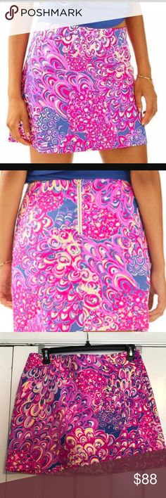 Lilly Pulitzer PopUp Lilly's Lagoon Marigold skort The Marigold skort is a tried and true Lilly girl staple. Now it a new bright print, this skort will pop with a simple sold tank or silk top and sandals. New with tags, purchased last year and has been in storage. Smoke free home. Cross posted Lilly Pulitzer Skirts