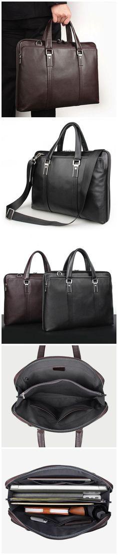 Men Full Grain Leather Tote Briefcase Shoulder Messenger Bag Laptop Bag W7326-1 Leather Briefcase, Leather Bag, Photography Bags, Canvas Leather, Laptop Bag, Travel Bags, Messenger Bag, Wallet, Shoulder