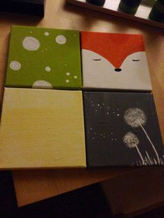 Four small paintings. Fox. Dandelion. Toadstool