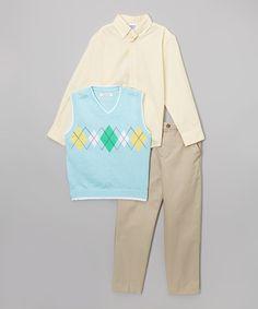 Look what I found on #zulily! Light Blue Argyle Vest Set - Infant, Toddler & Boys by IZOD #zulilyfinds