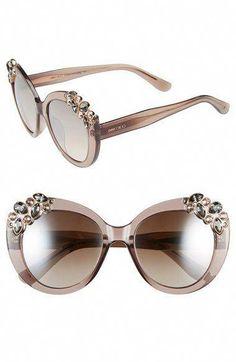 803fbdba6cf7 Women s Jimmy Choo  Megan  53mm Crystal Embellished Round Sunglasses -  Transparent Dove Grey