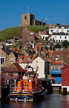 Yorkshire, Whitby, St Mary's Church and harbour