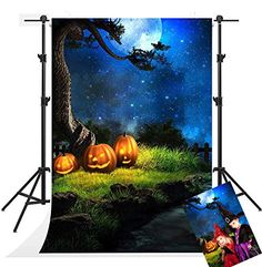 Purchase Halloween Night Photography Backdrops Blue Sky Moon Background Photo Pumpkin Backdrop Booth from Hedda Stan on OpenSky. Share and compare all Electronics.
