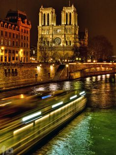 Cathédrale Notre-Dame de Paris at Night by Dawid Martynowski -     I love Notre Dame! It was my favorite aspect of Paris. So beautiful.