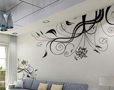 Vivero pared calcomanía vinilo pared calcomanías flores pared pegatina etiqueta infantiles habitación pared etiqueta niños decoración-negro flor con mariposas de pared