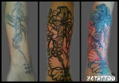copertura floreale tattoo - floral cover tattoo
