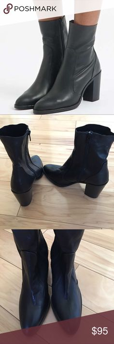 Topshop Magnificent black leather boots. Walk tall with a modern-classic ankle boot. This pair comes with a rounded point toe and sock detail. Heel height - 3.5 inches. 100% Leather. Made in Spain. Softest leather ever!  Beautiful, never worn.  No trades please. Boot is marked as a 38 but fits snug. I am a 7-7.5 and these fit great with room in toe. Topshop Shoes Ankle Boots & Booties