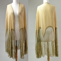 1920s Shawl nude Gold metallic Lace Silk Art Deco by LaMeowVintage, $299.00
