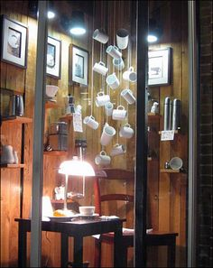 Lights on the display and IN the display Cole Hardware Windows - Home Mug Display, Display Ideas, Display Window, Store Displays, Retail Displays, Window Graphics, Showroom Design, Retail Windows, Visual Merchandising