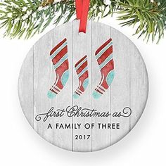 "First Christmas As A Family of Three Ornament 2017, Farmhouse Woodsy Newborn New Baby Parents Mom Dad Xmas Present Mommy Daddy Ceramic Porcelain Keepsake 3"" Flat Circle with Red Ribbon  #HomeDcor"