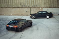 VW Corrado (front) and a 190e 2.3-16 Cosworth (rear).  Two cars on my Car Bucket List.