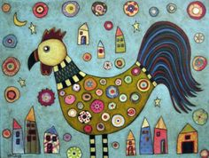 Rooster Collage Folk Art Karla Gerard Canvas by KarlaGerardFolkArt Karla Gerard, Art Carte, Rooster Art, Chicken Art, Chickens And Roosters, Primitive Folk Art, Arte Popular, Naive Art, Art Plastique