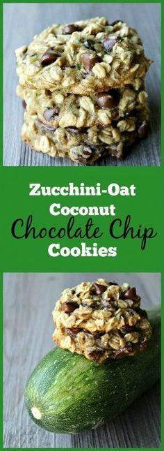 Zucchini-Oat Coconut Chocolate Chip Cookies- The best way to sneak veggies into cookies!