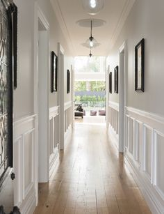 A year-long renovation transformed this traditional Mt Eden, Auckland villa into a contemporary and luxurious bachelor pad Long Hallway, Entry Hallway, Hallway Walls, Upstairs Hallway, Home Renovation, Home Remodeling, Cottage Renovation, Flur Design, Fireplace Set