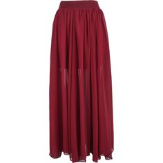Red Simple Pleated Long Chiffon Skirt ($17) ❤ liked on Polyvore featuring skirts, sheinside, long pleated chiffon skirt, pleated maxi skirts, long red maxi skirt, red pleated maxi skirt and long chiffon maxi skirt