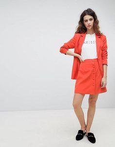 Unique 21 Button Front Mini Skirt Co-Ord