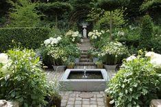 KJELD SLOT: DEN FORMELLE HAVE Landscape Design, Garden Design, Sunken Garden, Garden Inspiration, Garden Ideas, Green Garden, Pathways, Water Features, Beautiful Gardens