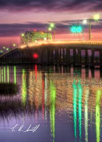 The Woods Bridge in Beaufort SC @ night.  Photo: Eric R. Smith  http://cmoments.com
