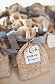 Pewter ribbons and burlap for favors | Photo by Michael Moss